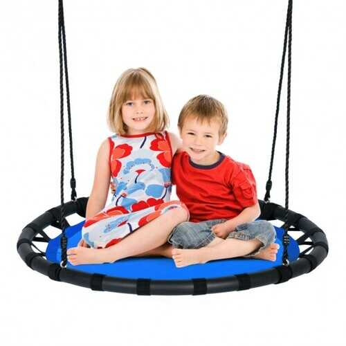 "40"" Flying Saucer Round Swing Kids Play Set-Blue - Color: Blue"