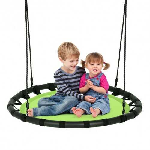 "40"" Flying Saucer Round Swing Kids Play Set-Green - Color: Green"