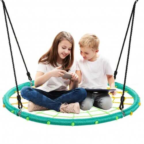 40'' Spider Web Tree Swing Kids Outdoor Play Set with Adjustable Ropes-Green - Color: Green