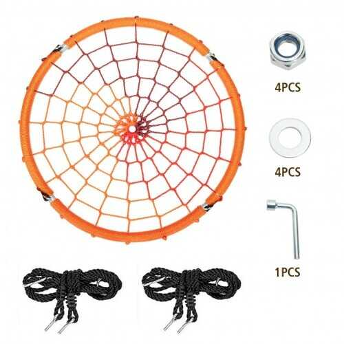 40'' Spider Web Tree Swing Kids Outdoor Play Set with Adjustable Ropes-Orange - Color: Orange