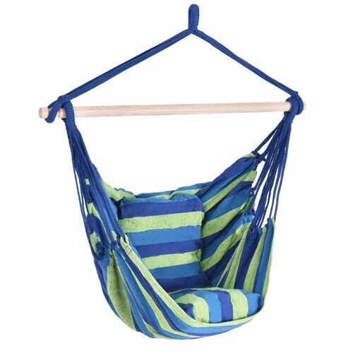 4 Color Deluxe Hammock Rope Chair Porch Yard Tree Hanging Air Swing Outdoor-Blue and Green - Color: Blue & Green