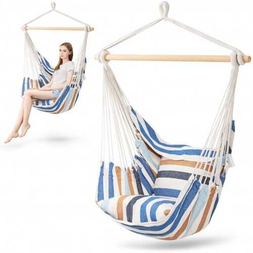 4 Color Deluxe Hammock Rope Chair Porch Yard Tree Hanging Air Swing Outdoor-Light Blue - Color: Light Blue