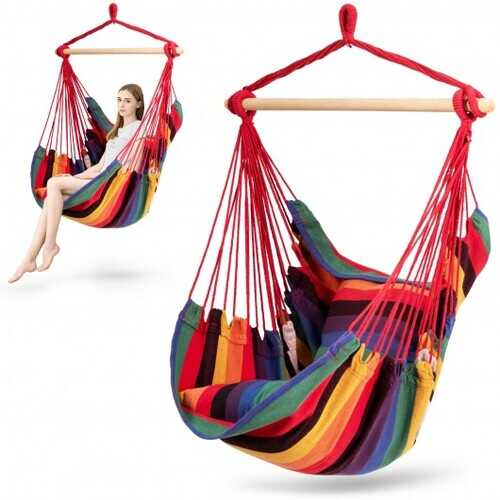 4 Color Deluxe Hammock Rope Chair Porch Yard Tree Hanging Air Swing Outdoor-Red - Color: Red