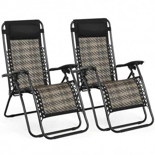 2Pcs Folding Patio Rattan Zero Gravity Lounge Chair-Gray - Color: Gray