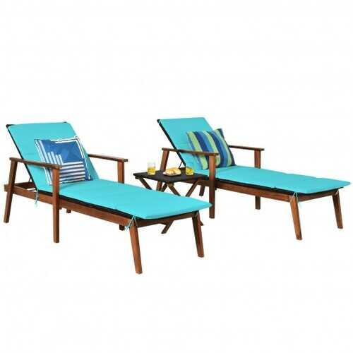 3Pcs Protable Patio Cushioned Rattan Lounge Chair Set with Folding Table-Turquoise - Color: Turquoise