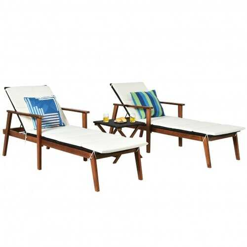 3Pcs Protable Patio Cushioned Rattan Lounge Chair Set with Folding Table-White - Color: White