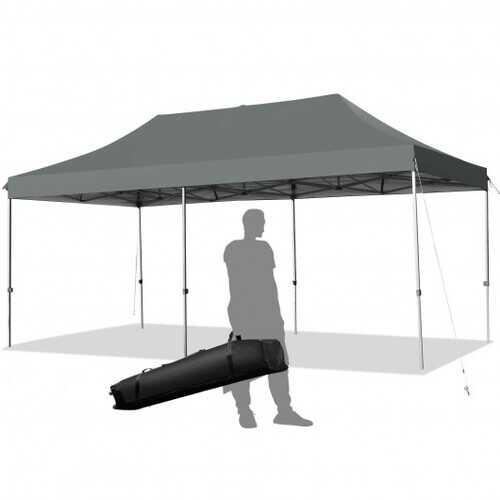 10'x20' Adjustable Folding Heavy Duty Sun Shelter with Carrying Bag-Gray - Color: Gray