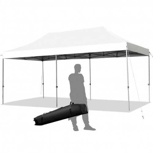 10'x20' Adjustable Folding Heavy Duty Sun Shelter with Carrying Bag-White - Color: White