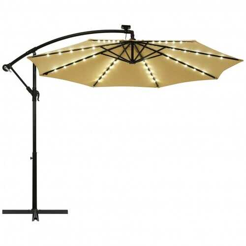 10 Ft Solar LED Offset Umbrella with 40 Lights and Cross Base for Patio-Beige - Color: Beige