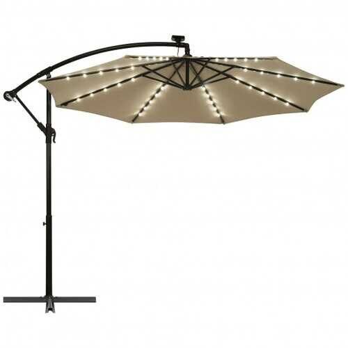 10 Ft Solar LED Offset Umbrella with 40 Lights and Cross Base for Patio-Tan - Color: Tan