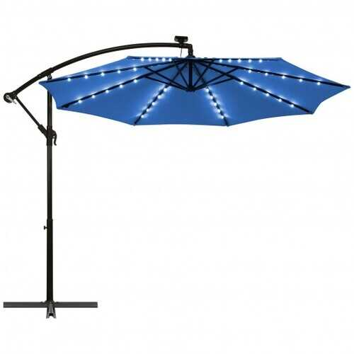 10 Ft Solar LED Offset Umbrella with 40 Lights and Cross Base for Patio-Blue - Color: Blue