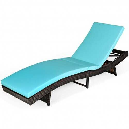Patio Folding Adjustable Rattan Chaise Lounge Chair with Cushion-Turquoise - Color: Turquoise