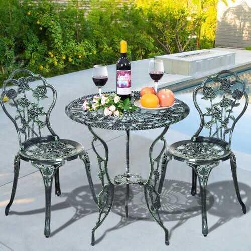 Outdoor Cast Aluminum Patio Furniture Set with Rose Design - Color: Green