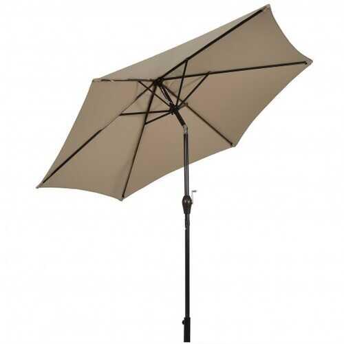10 ft Outdoor Market Patio Table Umbrella Push Button Tilt Crank Lift-Tan - Color: Tan