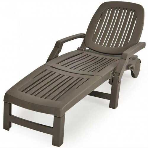 Adjustable Patio Sun Lounger with Weather Resistant Wheels-Coffee - Color: Coffee