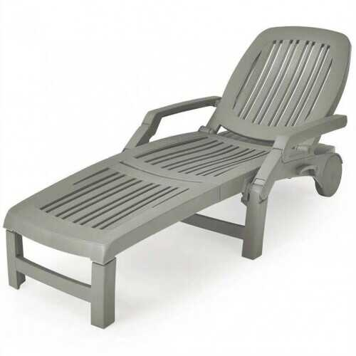 Adjustable Patio Sun Lounger with Weather Resistant Wheels-Gray - Color: Gray