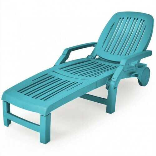 Adjustable Patio Sun Lounger with Weather Resistant Wheels-Turquoise - Color: Turquoise