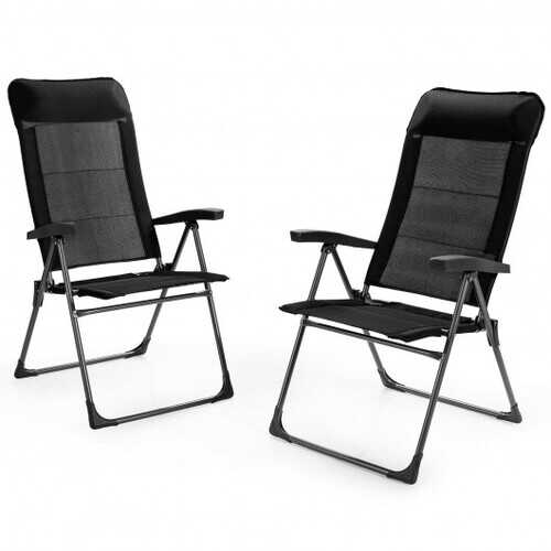 2 Pcs Portable Patio Folding Dining Chairs with Headrest Adjust for Camping -Black - Color: Black