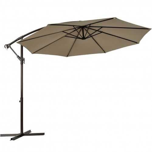 10 Ft Patio Offset Hanging Umbrella with Easy Tilt Adjustment-Tan - Color: Tan