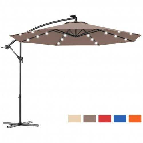 "10"" Patio Hanging Solar LED Umbrella Sun Shade with Cross Base-Tan - Color: Tan"