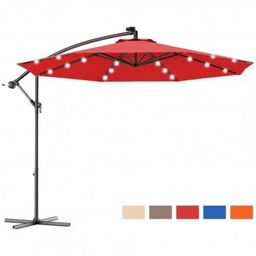 "10""  Patio Hanging Solar LED Umbrella Sun Shade with Cross Base-Burgundy - Color: Burgundy"