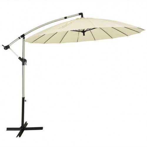 10 Foot Patio Offset Umbrella Market Hanging Umbrella for Backyard Poolside Lawn Garden-Beige - Color: Beige