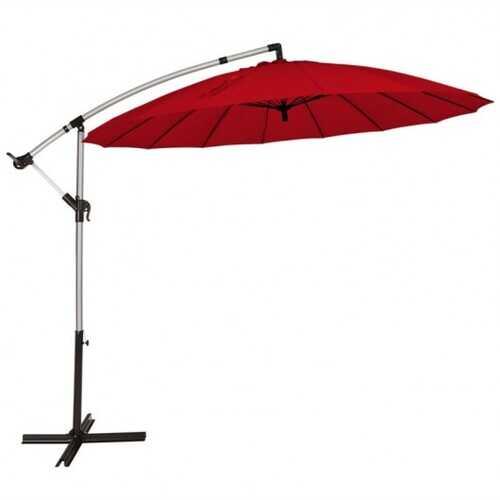 10 Foot Patio Offset Umbrella Market Hanging Umbrella for Backyard Poolside Lawn Garden-Burgundy - Color: Burgundy