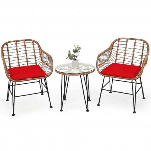 3 Pcs Patio Rattan Bistro Set with Cushion-Red - Color: Red