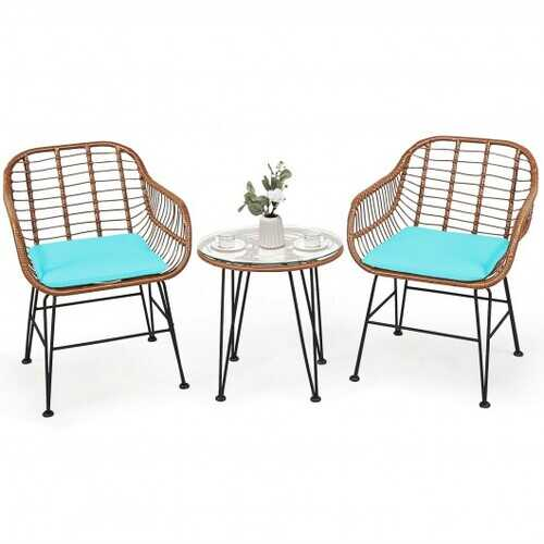 3 Pcs Patio Rattan Bistro Set with Cushion-Turquoise - Color: Turquoise