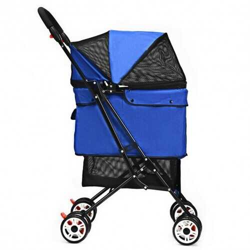 Pet Foldable Cage Stroller For Cat And Dog-Blue - Color: Blue