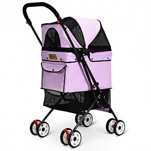 Pet Foldable Cage Stroller For Cat And Dog-Pink - Color: Pink