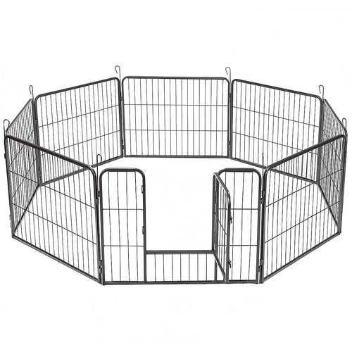 8 Metal Panel Heavy Duty Pet Dog Safety Gate Playpen