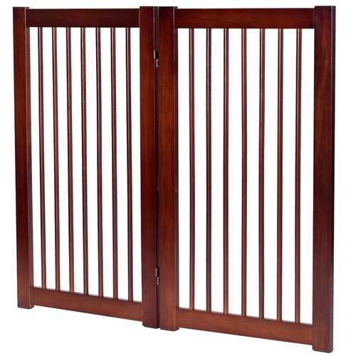 "36"" Configurable Folding Wood Pet Dog Safety Fence with Gate-B"