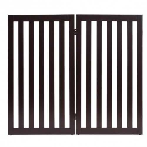 "35"" Folding Standing 2/4 Panel Wood Pet Fence-Brown-A"