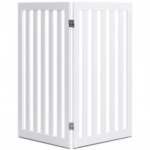 "35"" Folding Standing 2/4 Panel Wood Pet Fence-White-A - Color: White-2 pcs"