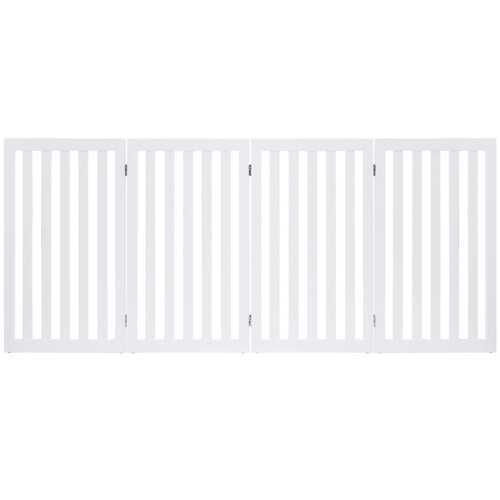 35'' Folding Standing 4 Panel Wood Pet Fence-White