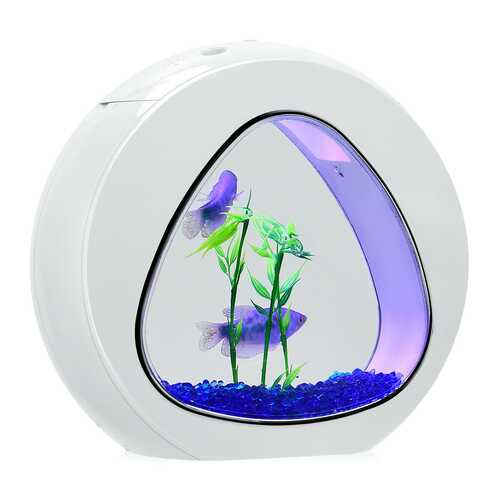 1Gallon Fish Aquarium Tank with Filter Air Pump-White