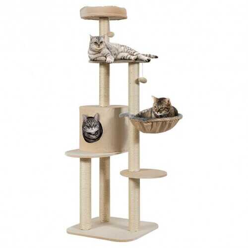 "56.5"" Multi-Level Cat Tree Kitten Climbing Tower-Beige"