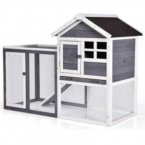 Outdoor Wooden Rabbit hutch-Gray - Color: Gray
