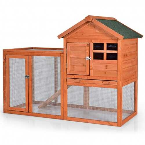 Outdoor Wooden Rabbit hutch-Natural - Color: Natural