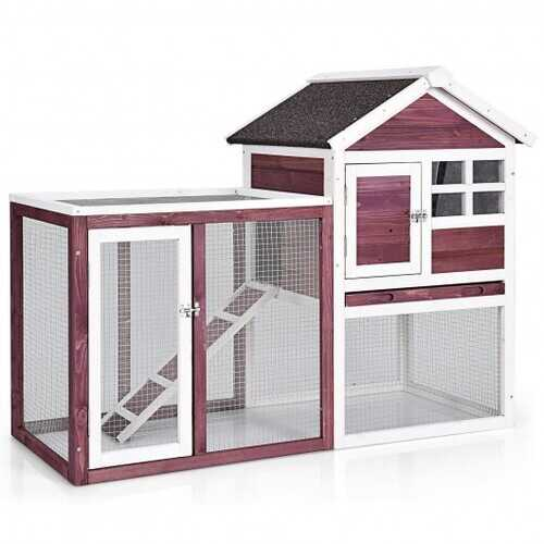 Outdoor Wooden Rabbit hutch-White - Color: White