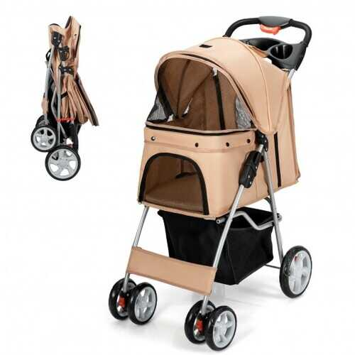 Foldable 4-Wheel Pet Stroller with Storage Basket-Beige - Color: Beige