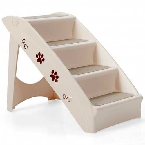 Collapsible Plastic Pet Stairs 4 Step Ladder for Small Dog and Cats-Beige - Color: Beige