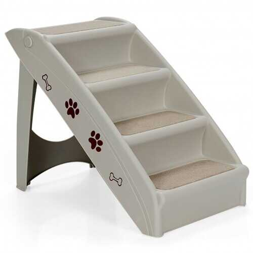 Collapsible Plastic Pet Stairs 4 Step Ladder for Small Dog and Cats-Gray - Color: Gray