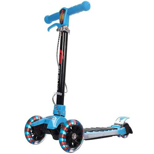 Folding Aluminum Kids 3-Wheel Music Kick Scooter with LED