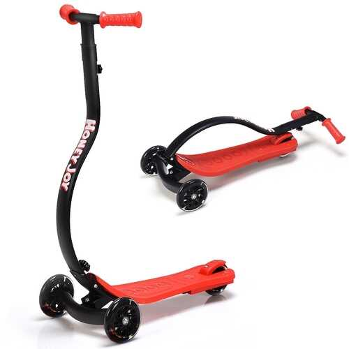 Folding Kids C Shape Anti-Collision Adjustable Kick Scooter -Red