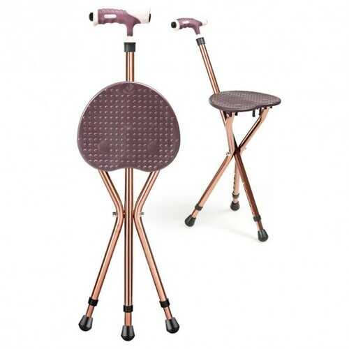 Lightweight Adjustable Folding Cane Seat with Light