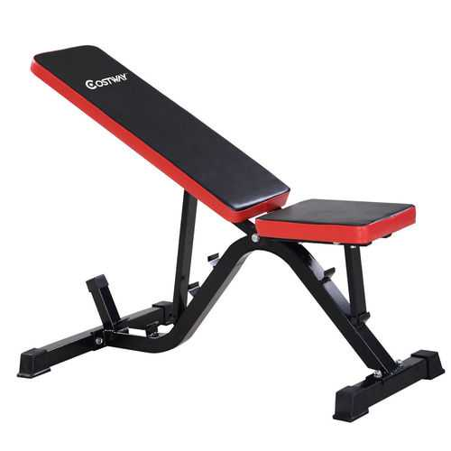 Red Costway Adjustable Sit up Incline Abs Bench