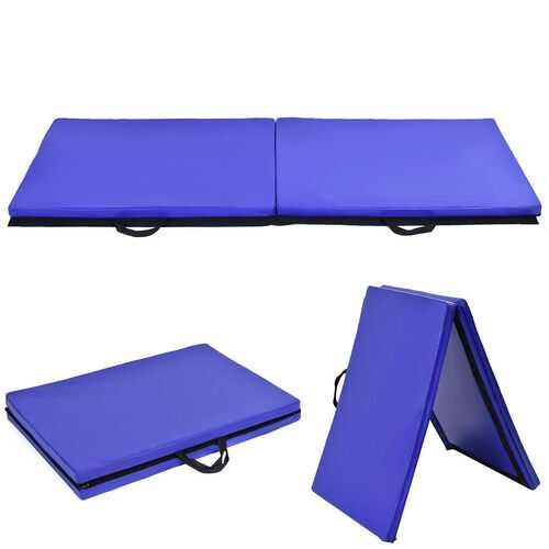 "6' x 24"" x 1.5'' Thick Two Folding Panel Gymnastics Mat-Blue - Color: Blue"