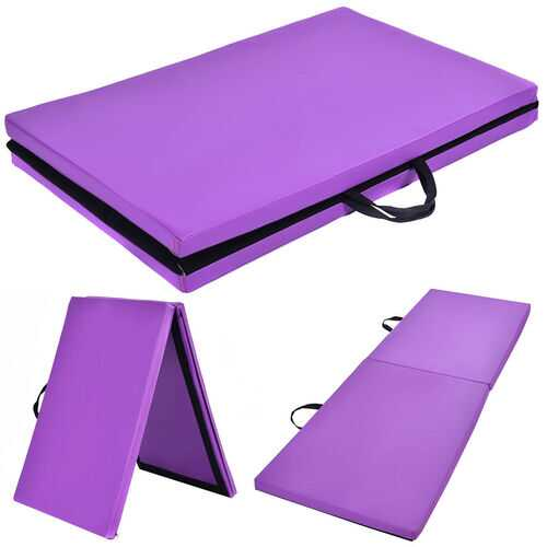 "6' x 24"" x 1.5'' Thick Two Folding Panel Gymnastics Mat-Purple - Color: Purple"